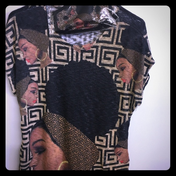 Tops - African girl lady mesh top with matching mask